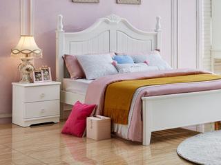 简美风格 泰国进口橡胶木 白色床头柜