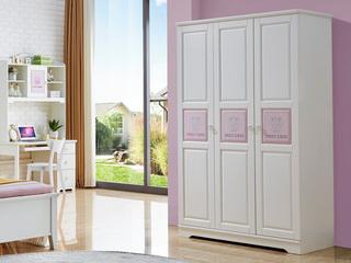 简美风格 泰国进口橡胶木 浅粉+白色三门衣柜