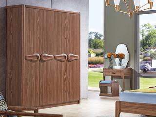 中式风格 泰国进口橡胶木 胡桃色 9007  四门衣柜