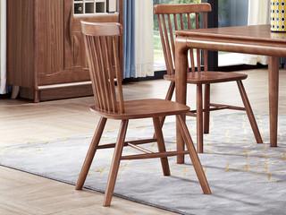 中式风格 泰国进口橡胶木 胡桃色 9601 餐椅