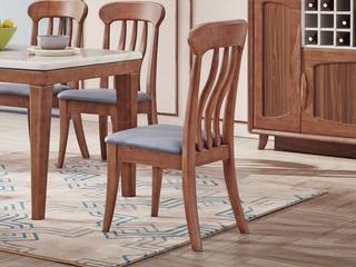 中式风格 皮艺 泰国进口橡胶木 胡桃色 9605 餐椅