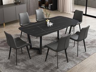 极简风格 直边圆角岩板台面 碳素金属脚 1.3米餐桌
