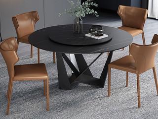 极简风格 高颜值技术岩板桌面 碳素钢框架(磨砂烤漆工艺)1.2米圆餐桌