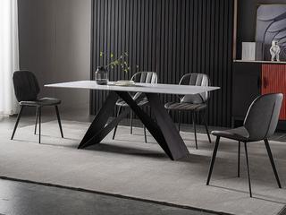 极简风格 高颜值技术岩板桌面(马肚形+圆角直边) 碳素钢框架(磨砂烤漆工艺)1.2米餐桌