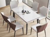 米勒 极简风格 棕色+白色 D33钢化玻璃 餐桌