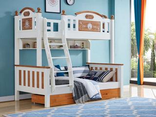 简美风格 泰国进口橡胶木 蜜桃金+白色1.35m上下床(含书架和抽屉)