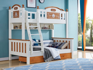 简美风格 泰国进口橡胶木 蜜桃金+白色1.5m 上下床(含书架和抽屉)