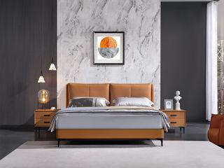 现代简约 钢木排骨架 优质头层牛皮 活力姜黄色 1.8*2.0m双人床