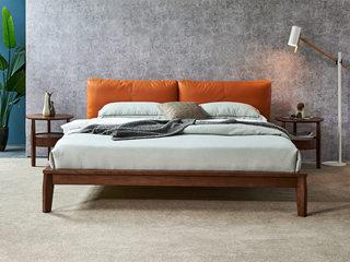 北欧风格 北美进口白腊木 优质松木床板 经久耐用 高密度海绵 时尚橙超纤皮靠背 1.8*2.0m双人床