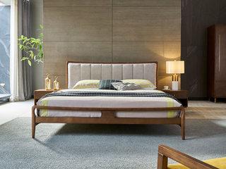 北欧风格 北美进口白腊木 亲肤棉麻靠背 实木框架 稳固承重 1.8*2.0m双人床
