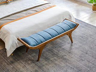 北欧风格 北美进口白腊木框架 超纤皮软座 床尾凳