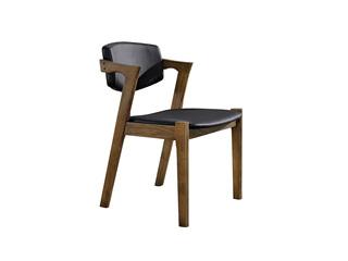 北欧风格 北美进口白蜡木 古铜色黑皮餐椅