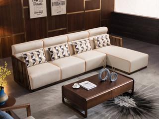 意式极简 优雅胡桃木框架 麻布公仔棉腰枕 密度海绵 承托有力 皮艺软包 转角沙发(1+3+左贵妃)
