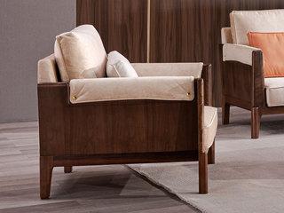 意式极简 时尚科技绒 优雅胡桃木框架 密度海绵 双扶手单人位沙发