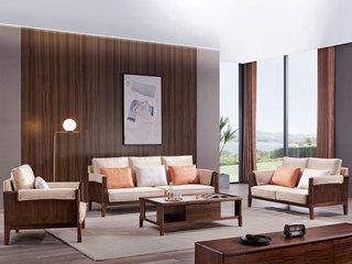 意式极简 时尚科技绒 优雅胡桃木框架 密度海绵 沙发组合(1+2+3)