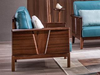 意式极简 皮艺 优雅胡桃木框架 强力承托 密度海绵 双扶手单人位沙发