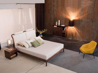 意式极简 细腻胡桃木 高弹海绵 优雅木纹 优质麻布 1.8*2.0m床