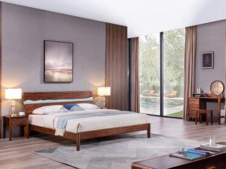 意式极简 清晰天然木纹 胡桃木框架 个性床头设计 1.8*2.0m床