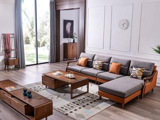 北欧风格 北美进口白蜡木框架 优质科技布 转角沙发(1+3+贵妃)不分左右
