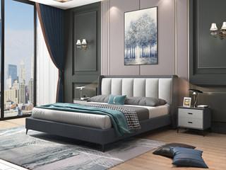 极简风格 气质深灰色 科技布靠背 承重排骨架 1.8m床