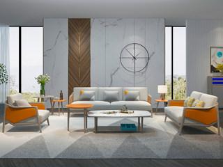 现代简约 进口白蜡木框架 超纤皮双扶手 布艺坐垫 沙发组合(1+2+3)