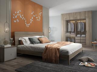 现代简约 北美进口白蜡木框架 松木床板条 倾斜靠背 1.8m床
