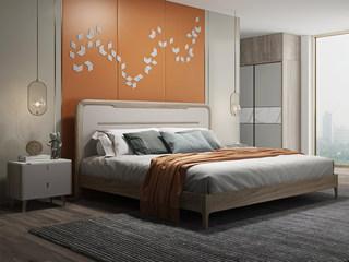 现代简约 北美进口白蜡木 松木板 耐腐耐磨 1.8m床