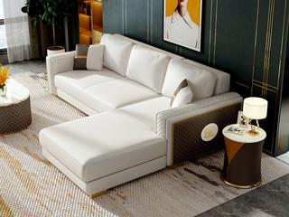 慕梵希 轻奢风格 高端纳帕皮 北美进口落叶松框架 D02沙发组合 (3+左贵妃)