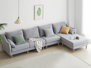 现代简约 俄罗斯进口落叶松坚固框架 优质棉麻布艺 灰色 转角沙发(1+3+左贵妃)