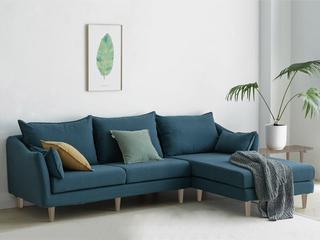 现代简约 俄罗斯进口落叶松坚固框架 优质棉麻布艺 深蓝 转角沙发(3+左贵妃)