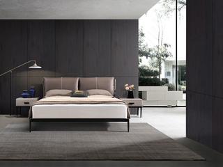 奢工 潮品系列 极简风格 807咖色床 1.8*2.0米 头层黄牛皮床