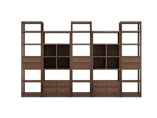 中式輕奢 黑胡桃色 金絲檀木 組合書柜