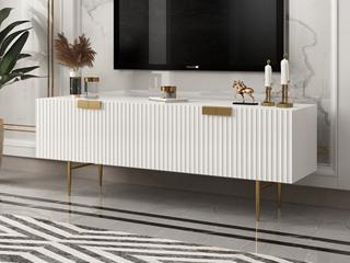 轻奢风格 精美条纹设计 优雅镀金支脚 梦幻白 2.0m电视柜