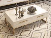 梵克美家 轻奢风格 镀金不锈钢 细腻光滑台面 优雅白 1.2m茶几