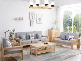 北欧风格沙发 优质橡胶木 高密度海绵软包 原木色实木 回归自然 沙发组合(1+2+3)