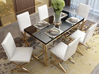 轻奢风格 钢化玻璃台面 镀金不锈钢 简约时尚 时尚黑 1.4m餐桌
