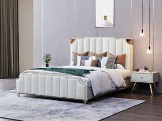 轻奢风格 舒适软包靠背+实木框架 1.8米 米白色 皮艺床