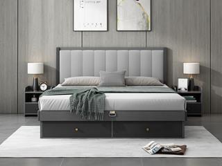 现代简约 浅灰色 靠背接触面优质超纤皮 储物抽屉设计长1.2*2米HB-1701板木高箱床(008靠枕)床