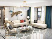 梵克美家 轻奢风格 皮艺 俄罗斯进口松木框架 沙发组合( 3+左贵妃+单椅)(抱枕随机发货)