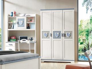 现代简约 主材樱桃木+白蜡木 大宝环保水性漆 全实木三门衣柜