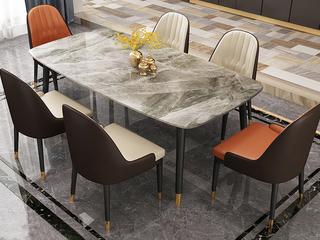 轻奢 意大利灰岩板 1.6米 餐桌
