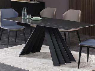 极简 劳伦黑金岩板1.4米 餐桌