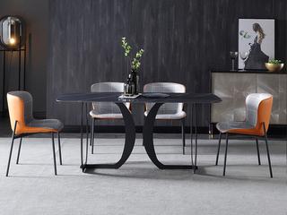 极简 劳伦黑金岩板 1.3米 餐桌