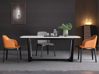 极简 雪山石岩板 1.6米 餐桌