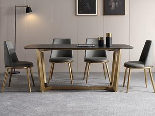 轻奢 劳伦黑金岩板 1.5米 餐桌