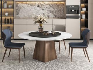 极简 雪山白岩板 1.3米 圆餐桌