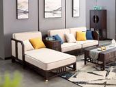 东方印记 新中式 紫檀色 泰国进口橡胶木+布坐垫转角贵妃沙发(含扶手箱不可拆卸)
