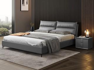 现代简约 充盈软靠 超柔科技布+实木框架 深灰色1.5米床