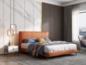 卡罗亚 极简风格 松木框架 百搭1.8米橙色皮艺床
