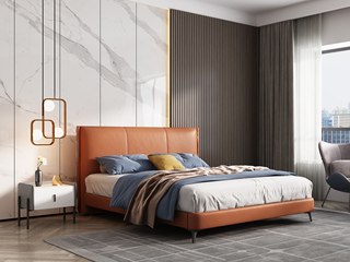 极简风格 松木框架 百搭1.8米橙色皮艺床